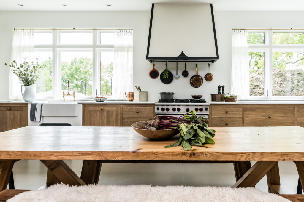 Bright large kitchen with wooden table